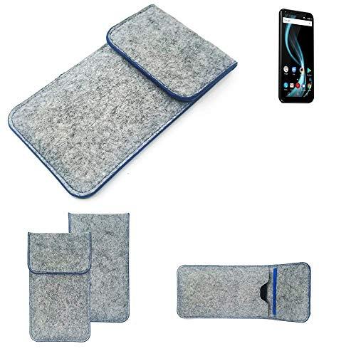 K-S-Trade Filz Schutz Hülle Für Allview X4 Soul Infinity Plus Schutzhülle Filztasche Pouch Tasche Hülle Sleeve Handyhülle Filzhülle Hellgrau, Blauer Rand