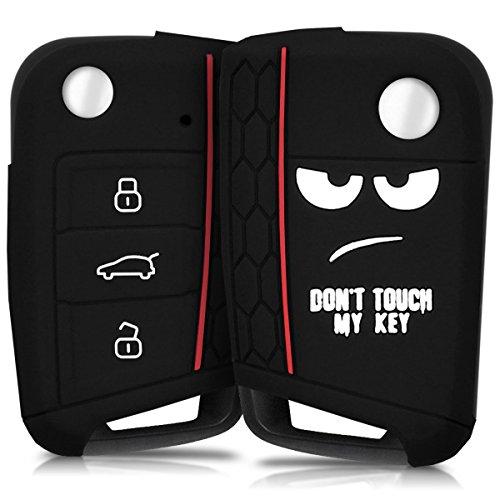 kwmobile Funda Compatible con VW Golf 7 MK7 Llave de Coche de 3 Botones - Carcasa Protectora Suave de Silicona - Don't Touch my Key