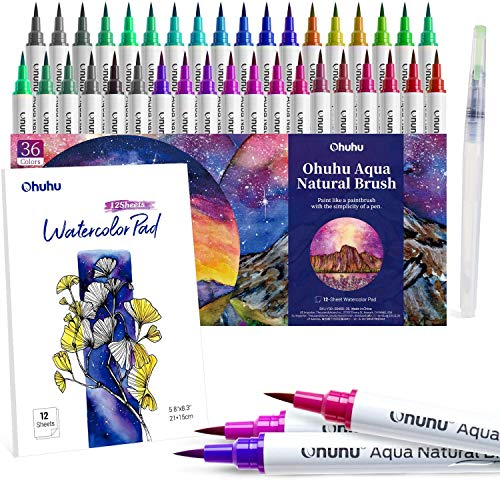 Professional Watercolor Brush Markers 36 Colors of Ohuhu, Water-based Real Nylon Brush Tip Marker Pens with 12-Sheet Watercolor Pad & A Blending Aqua Pen for Coloring Calligraphy for Artists Beginners
