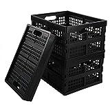 EudokkyNA 3-Pack 15 Liter Collapsible Storage Basket Folding Crates, Black