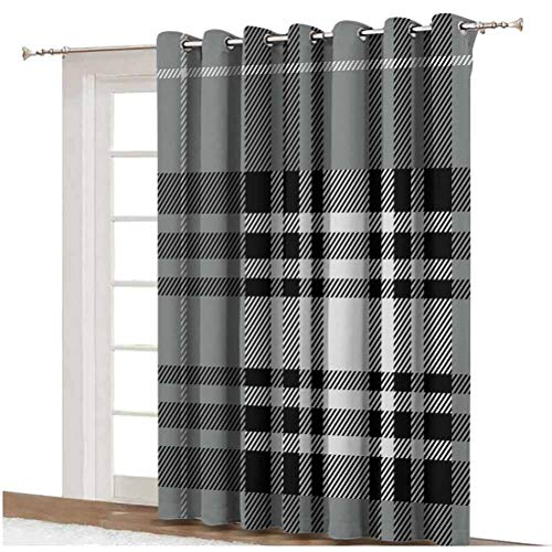 Checkered Shading Curtains Old Fashioned Plaid Tartan in Dark Colors Classic English Tile Symmetrical Grommets Panels Printed Curtains ,Single Panel 100x84 inch,for Sliding Door Grey Black White