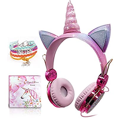 Kids Headphones, Unicorn Sparkly Rhinestone Childrens Headphones for Girls, Pink Wired Headphones Over ear with Unicorn Bracelet Gift, Adjustable Stereo Headphones with Mic and Volume Control by Jyps