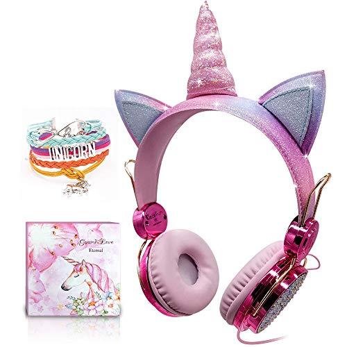 Cuffie per bambini Unicorn, Cuffie over-ear per ragazze Cuffie Sparkly carine cablate Arcobaleno Unicorn Regali di Natale per bambini, Cuffie regolabili con microfono per Kindle/Ipad (Wired)