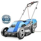 Hyundai Electric, Rear Roller, Mulching, Rotary Lawnmower, 1200W 33cm Cut 30L Bag 10M