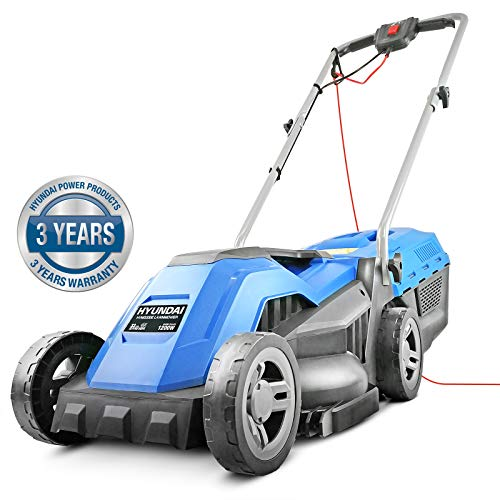 Hyundai Electric, Rear Roller, Mulching, Rotary Lawnmower, 1200W 33cm Cut 30L Bag 10M Cable HYM3300E