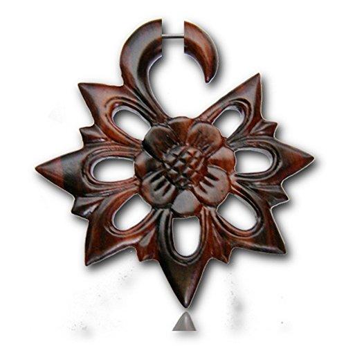 Enchufe de oído de acero inoxidable Chic-Net madera Fake Piercing Narra edelweiss flor de madera de níquel-libre Orgánica