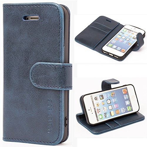 Mulbess Handyhülle für iPhone 5s Hülle Leder, iPhone 5s Handy Hüllen, Vintage Flip Handytasche Schutzhülle für iPhone SE 2016 / 5s / 5 Case, Navy Blau