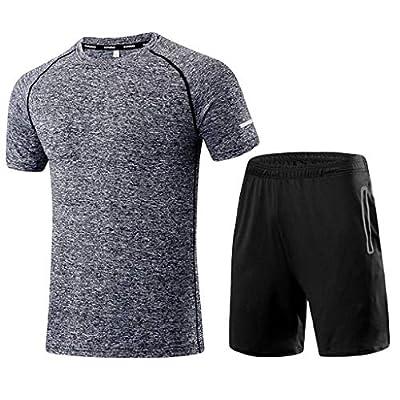 NREALY Men's Fashion Printing Short Sleeve O Neck Shirt Tops Casual Short Pant Suit