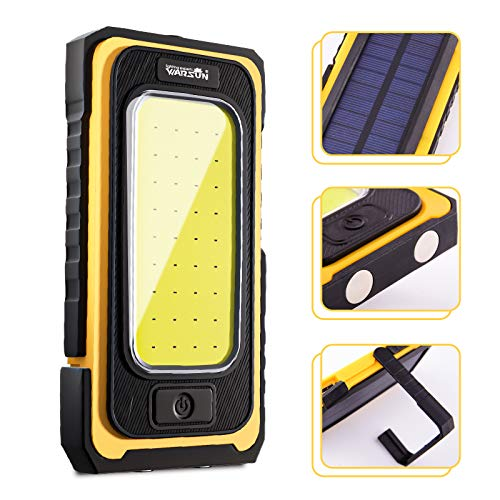 WARSUN Led Work Light, Rechargeable Work Light,Portable Magnetic Work Light, Waterproof LED Solar Flood Lights for Outdoor Camping Hiking Emergency Car Repairing and Job Site Lighting