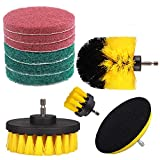 StillCool 3 Piece Drill Brush Attachment Set + 7 Piece Scouring Pads Scrubber Brush Cleaning Kit-All Purpose Cleaner for Bathroom Surfaces, Grout, Floor, Tub, Shower, Tile, Corners, Sinks