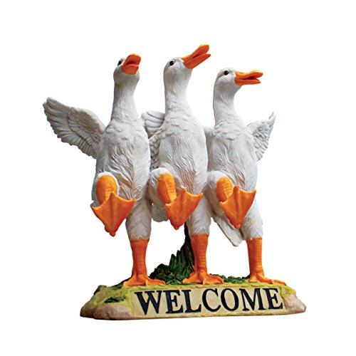 Design Toscano JQ6260 Delightful Dancing Ducks Welcome Sign Garden Statue, 11 Inch, Full Color