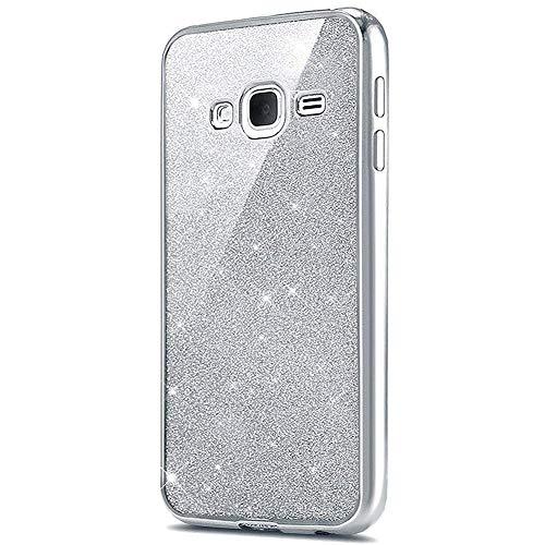 Surakey Cover Compatibile per Samsung Galaxy J5 2016 Glitter Brillante Silicone Custodia con Bordo Placcato Lusso Copertina Ultra Sottile Morbida Gomma Crystal Clear TPU Protettiva Bumper Case,Argento