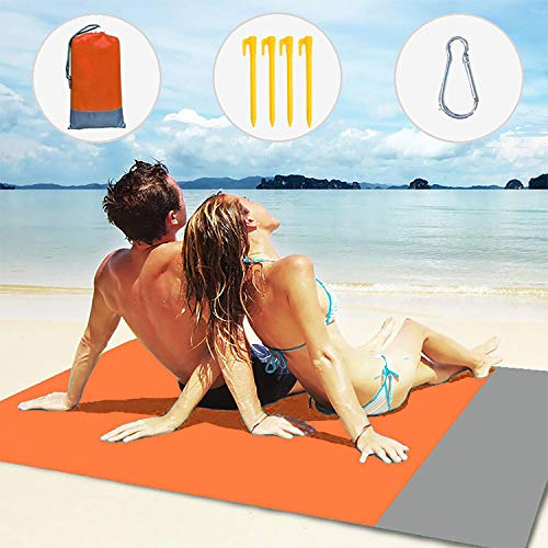 Layack Coperta da Spiaggia 210x200CM, Coperta da Campeggio Tappetino da Picnic Impermeabile Portatile per Campeggio, Picnic, Spiaggia, Viaggi, Escursionismo, Arancione