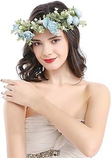 Adjustable Floral Crown Wreath for Women Flower Headbands Wedding Hair Accessories Floral Garland Crown Blue