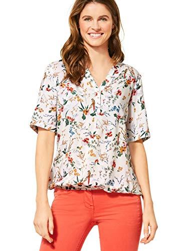 Cecil Damen 341986 TOS Flower Print Tunic Bluse, Light Alabaster White, Medium