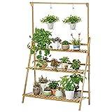 unho Estantería para Macetas de Bambú Escalera para Flores Plantas con 3 Niveles y Barra de Colgar Soporte para Macetas Exterior Interior Jardín 70 x 40 x 96cm