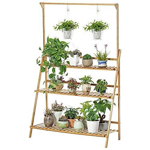unho Estantería para Macetas de Bambú Escalera para Flores Plantas con 3 Niveles y Barra de Colgar...