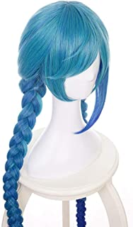 MQSS 140cm LOL Jinx Anime Cosplay Costume Wigs Length Straight Double Ponytails Cute Girl's loli Long Ponytail Wig Weaving Braid Hair Wigs Synthetic Wig