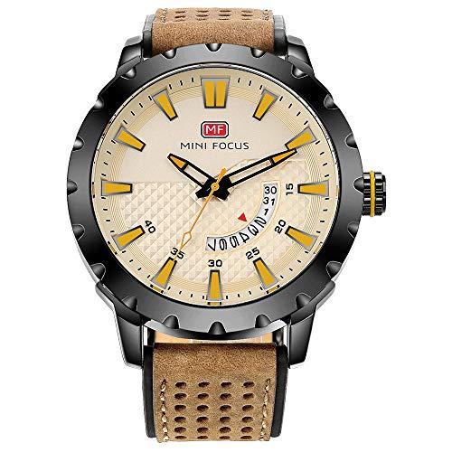 Reloj para Hombre Reloj mecánico automático Calendario analógico Reloj de Pulsera mecánico de Cuero marrón-A