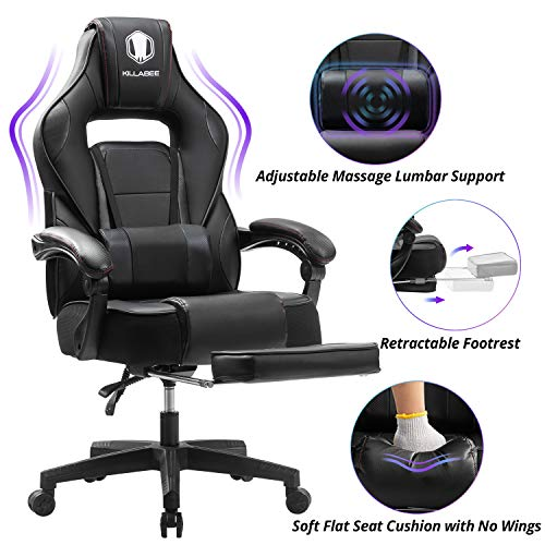KILLABEE Massage Reclining Gaming Chair - Ergonomic High-Back Racing Computer Desk Office Chair with Retractable Footrest and Adjustable Lumbar Cushion (Black)