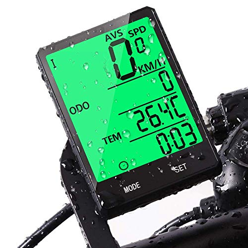 Bike Computer,Bicycle Wired Computer Speedometer and Odometer Waterproof with Backlight Large LCD Display, Tracking Distance AVS Speed Time Two Bicycle Using for Outdoor Cycling,Multi Function
