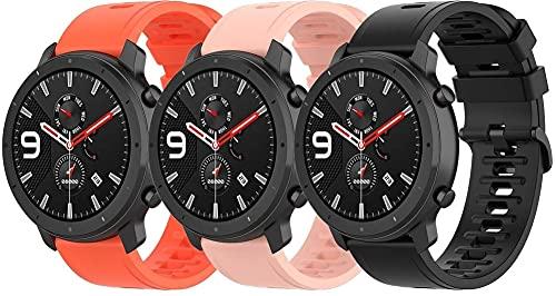 Classicase Correa de Reloj Recambios Correa Relojes Caucho Compatible con Garmin Vivoactive 4 - Silicona Correa Reloj con Hebilla (22mm, 3-Pack G)