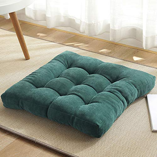 QSCV Soft Square Floor Pillow Cushion,Thick Tatami Floor Cushion,Solid Color Dinning Chair Pad for Office Sofa Balcony Garden-D 19.6'(50x50cm)