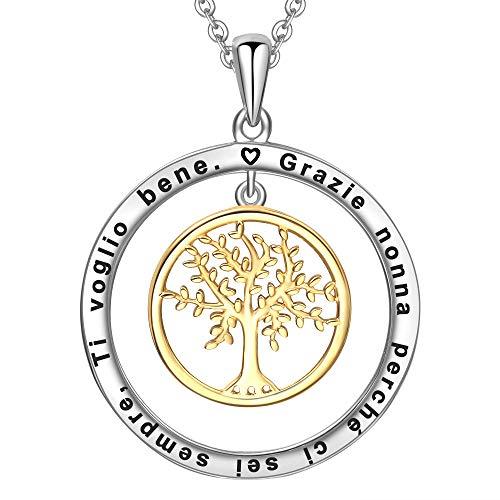 LOVORDS Collana Donna Incisa Argento Sterling 925 Pendente Ciondolo Albero della Vita Famiglia Cerchio Regalo Nonna