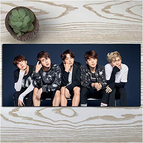 ZDVHM Große Gaming Mouse Pad K-POP Singer Stern BTS Extended Keyboard Mauspad Beruf Spiel Mousepad for Office Home Griffige PC Desktop-Tabelle Mauspad (Color : S, Size : 900 * 400 * 3mm)