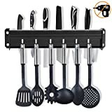 Messerblock Messer Set, Aluminium Küchenleiste | Küchenreling mit 8 Haken, Küchenutensilienhalter ohne Bohren, küchenstange mit Patentierter Kleber + Selbstklebender Kleber (Schwarz)
