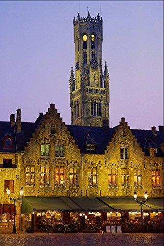 Muestra del Metal 805026 plaza Burg y torre campanario de brujas Bélgica A4 12 x 8 aluminio