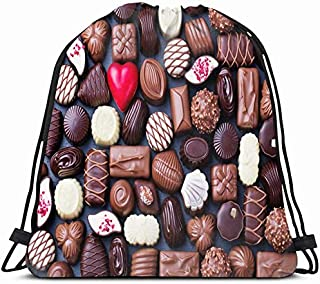Drawstring Backpack String Bag 14X16 Brown Assorted Assortment Fine BonBon Chocolate Candies White Dark Food Drink Red Clo...