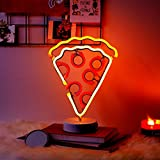 Merkury Innovations 12' Pizza Multi-Color LED Lights Neon Signs Mood Light with Pedestal, Battery Operated Night Light Bedroom Decorations Lamp Home Party Decorations and Home Decor, Multi-color