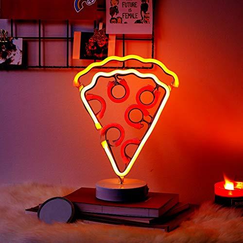 Neon Cheese Pizza Slice Light