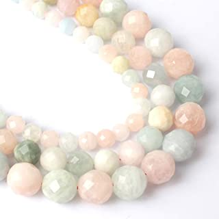 Song Xi Faceted Colorful 8mm Morganite Round Loose Gemstone Beads for Jewelry Making 15inches Beads