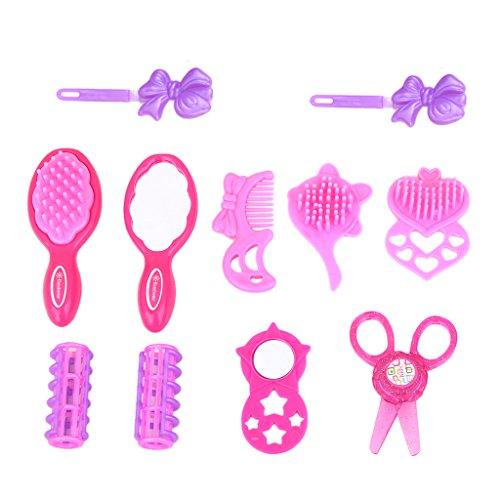 Gazechimp Kit de 19pcs Coffret Cosmétique Mallette de Beauté Jouet de Maquillage pour Filles Sac Cosmétique Sèche-Cheveux Peigne Miroir Rose