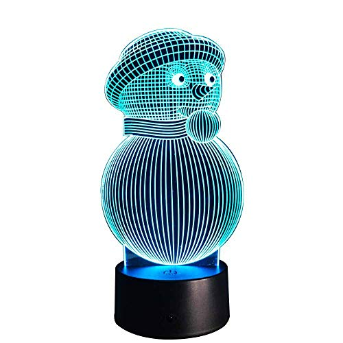 Noël Bonhomme De Neige LED Esthétique Lampe De Table Veilleuse 3D- 5 Couleurs Interchangeables Bouton Commutateur + Haut-Parleur Bluetooth- USB Power + Alimentation De La Batterie Cadeau De Noel Pour Les Enfants