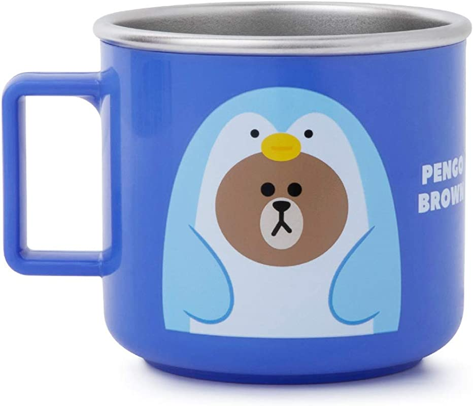 LINE FRIENDS Kids Cup Pengo BROWN Character Design Stainless Steel Water Tumbler Mug For Children Blue
