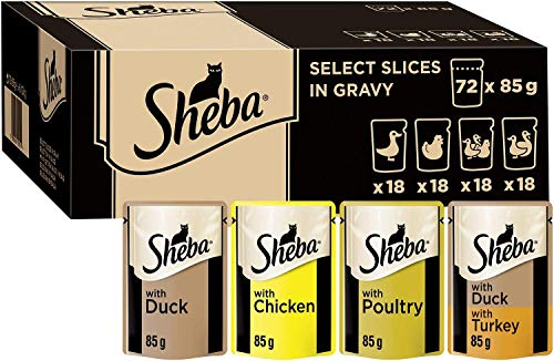 Sheba Select Slices in Gravy – Poultry Selection – Wet cat food pouches for adult cats – 72 x 85 g Pack