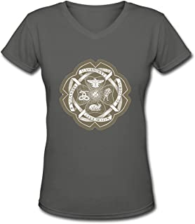 Ilvermorny School of Witchcraft and Wizardry Crest Women's New Summer Casual Fashion T-Shirt with Short Sleeves V-Neck