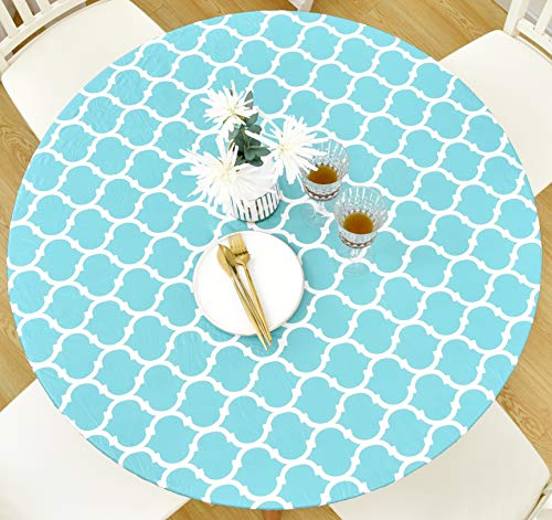 Rally Home Goods Indoor Outdoor Patio Round Fitted Vinyl Tablecloth, Flannel Backing, Elastic, Waterproof Wipeable Plastic Cover, Turquoise Moroccan Trellis Pattern for 5-Seat Table 36-42'' Diameter