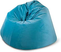 BAGZO VELVET RELAXING CHAIR LARGE COMFY BEAN BAG BLUE
