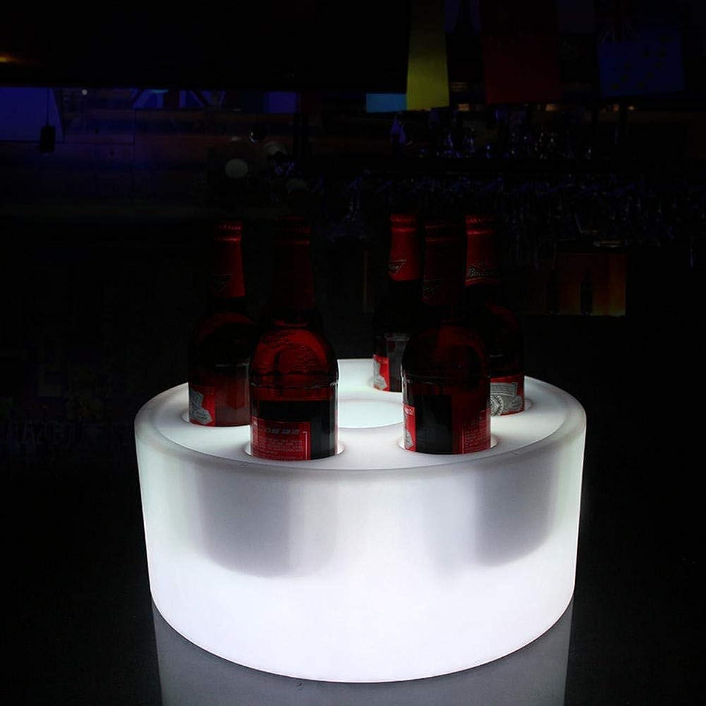累計わかる鳴らすアイスペール ,LEDカラー変更シャンパンクーラー Ledアイスバケツバー用品ledライト円形穴7カクテルワインバケツシャンパンバケツワインクーラーボトルクーラーボトルチラードリンクパーティー用浴槽付きヴィンテージ用 (Color : 7 bottles)