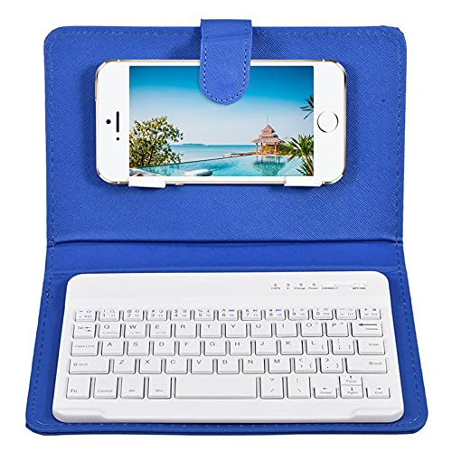 keyboard with leather cases Howardee Portable PU Leather Keyboard Cover Case Phone Wireless Bluetooth Keyboard for iPhone Android (Blue)