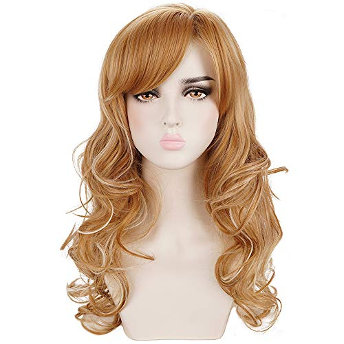 Deifor Long Curly Wavy Strawberry Blonde Highlights Natural Synthetic Hair Wigs with Bangs for Women Daily Wear, Cosplay, Halloween