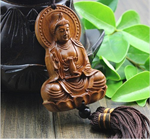 PureaquHandmade Traditional Safty Buddha Dragon Car Key Pendant Carving Car Rear Mirror Hanging Ornament Wooden Muslim Wooden Accessory Decoration Gift Automotive Interiors Car Decoration 1PCS