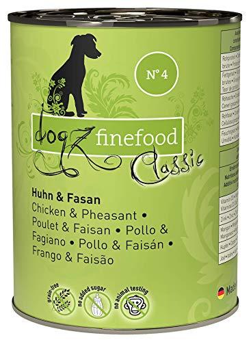 dogz finefood Hundefutter nass - N° 4 Huhn & Fasan - Feinkost Nassfutter für Hunde & Welpen - getreidefrei & zuckerfrei - hoher Fleischanteil, 6 x 400 g Dose