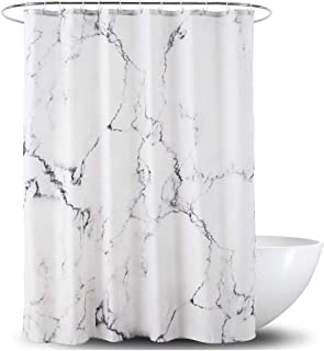 YOSTEV Marble Bathroom Shower Curtain,Grey and White Fabric Shower Curtain with Hooks,Unique 3D Printing,Decorative Bathroom Accessories,Water Proof,Reinforced Metal Grommets,Standard 72x72 Inches