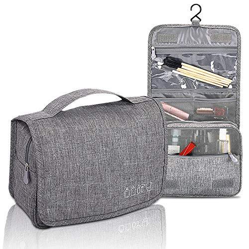 Beauty Case da Viaggio , Impermeabile Elegante Trousse Donna Uomo Ragazzina Appendibile Doccia 2 Compartment Mini Beauty Case Make Up Bag Portatile Toiletrybag Grande Wash Bag(Grigio)