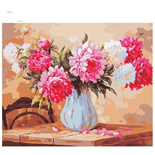 GKJRKGVF Tafel Chinese Rose Diy Schilderen Door Getallen Olie Schilderen Op Canvas Hand Geschilderd Acryl Verf Home Art
